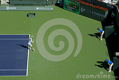 Novak Djokovic serves at Indian Wells 2013 Editorial Image
