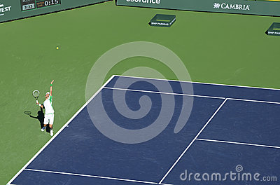 Djokovic Serves at Indian Wells 2013 Editorial Photography