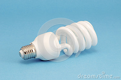Novel fluorescent light bulb on blue background