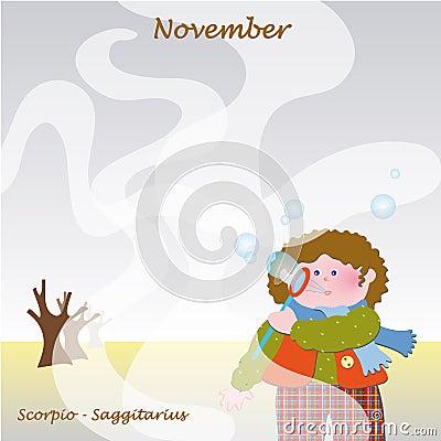 November base calendar to add the days
