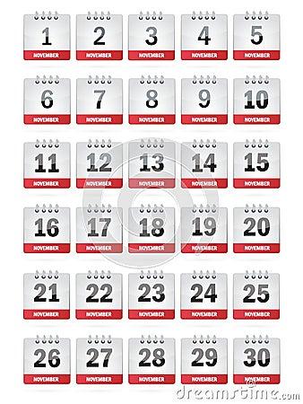November Calendar Icons