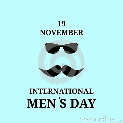 November 19. Happy International Day of men. Black mustache and glasses, Vector, isolated, Vector Illustration