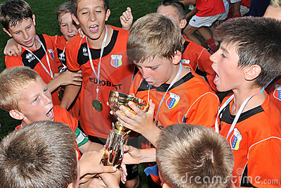 Novi grad - Tuzla youth soccer game Editorial Stock Image