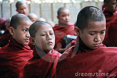 Novice monks waiting in line, Myanmar Editorial Image