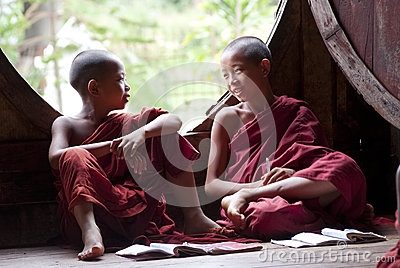 Novices at Shwe Yan Phe Monastery Editorial Image