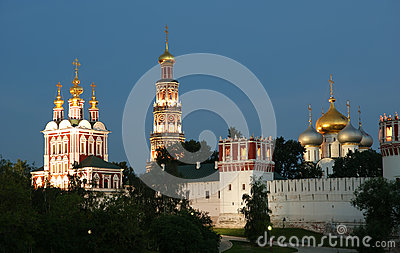 Novodevichy Convent (at night), Moscow, Russia