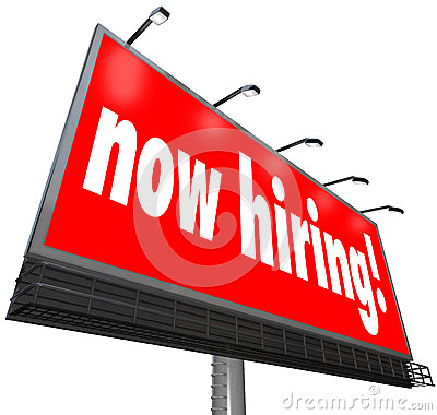 Now Hiring Words Billboard Sign Jobs Career Apply Business