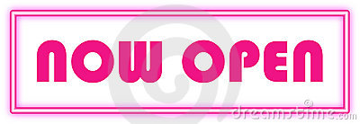 Now Open Sign In Pink Neon Stock Photos - Image: 14149783