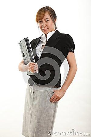 Nätt fortiesasiataffärskvinna