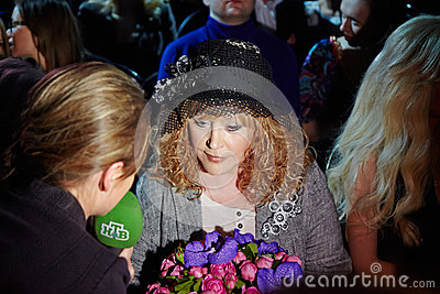 NTV correspondent interviews Alla Pugacheva Editorial Stock Photo