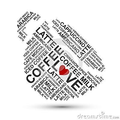 Nuage de typographie de cuvette de café