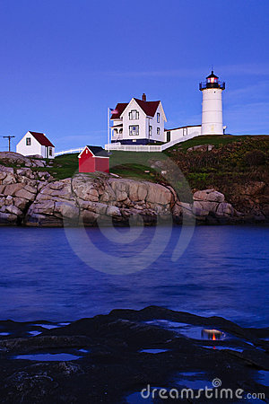 Free Nubble Lighthouse At Dusk Stock Image - 12903301