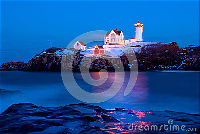 Nubble Lighthouse in Maine During Holiday Season