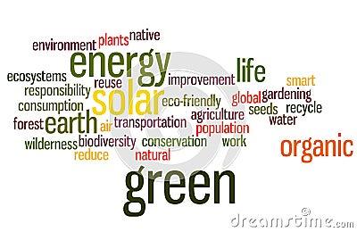 Nube ambiental de la palabra en verde