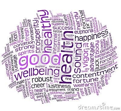 Nube de la etiqueta de la buena salud y del bienestar