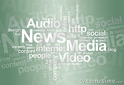Nube di parola del â di media e di notizie