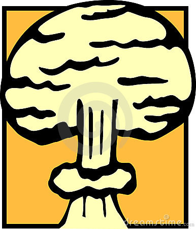 Nuclear atomic explosion cloud vector illustration