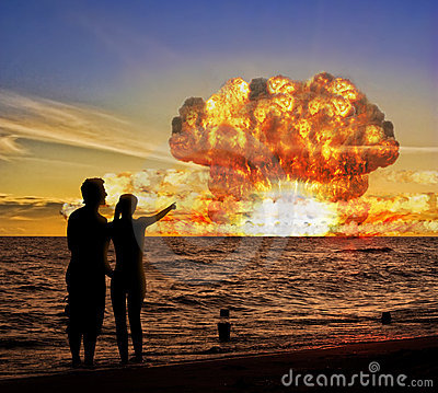 Nuclear bomb test on the ocean