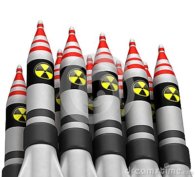Nuclear bombs with radiation icon