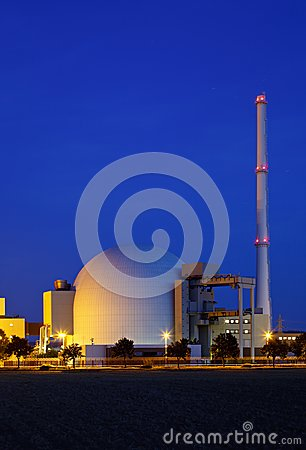 Free Nuclear Power Station With Night Blue Sky Royalty Free Stock Image - 99844026