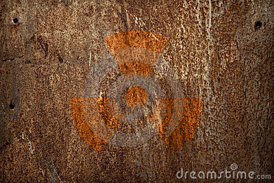 Nuclear radiation sign on metal texture