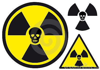 Nuclear symbol with skull