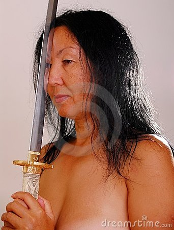 Nude Asian woman with sword