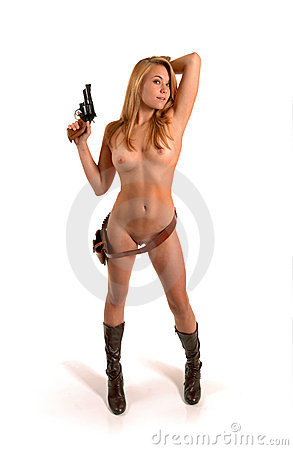 Nude cowgirl with gun