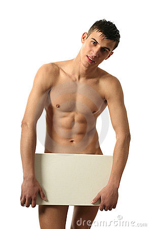 Nude Man Covering with Copy Space Blank Banner