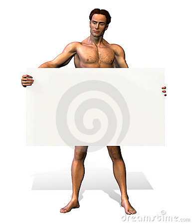 Nude Man Holding Sign - includes clipping path