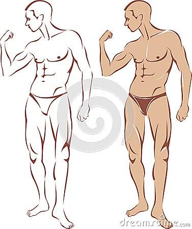 Nude man silhouette