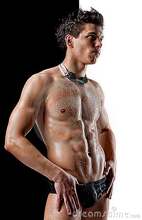 Nude muscle wet swimmer with glasses