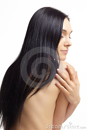 Nude woman with dark hair