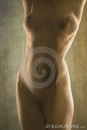 Nude woman standing.