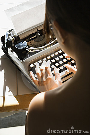 Free Nude Woman Typing. Stock Photography - 2425212