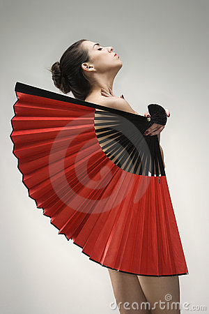 Free Nude Woman With Fan. Stock Image - 2424521