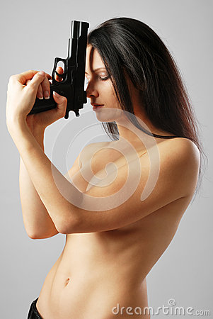 Free Nude Woman With Handgun Stock Images - 37522394
