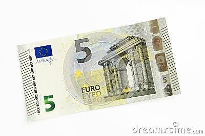 Nuevo billete de banco del euro cinco