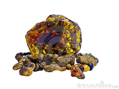 Nugget and old beads of Baltic amber