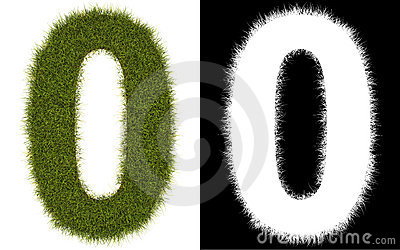 Number 0 of the grass with alpha channel