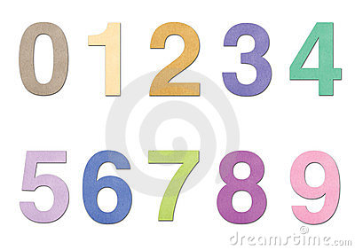 Number from 0 to 9 in paper over white background