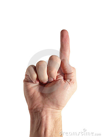 Number 1 - Finger Pointing Up (with clipping path)