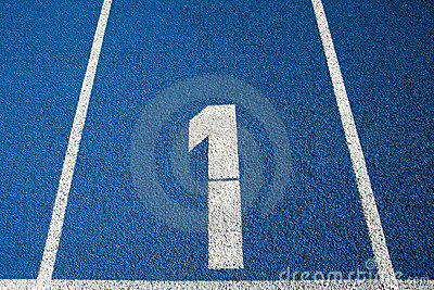 Number 1 on a running track