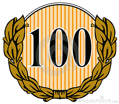Number 100 with laurel leave