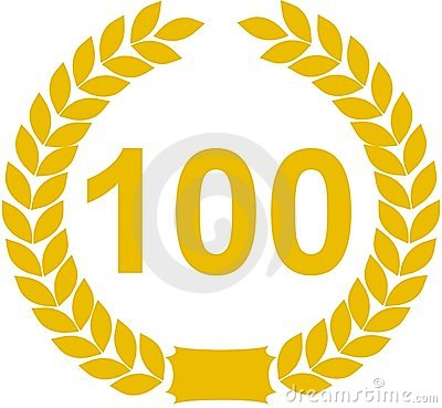 Number 100 laurel wreath