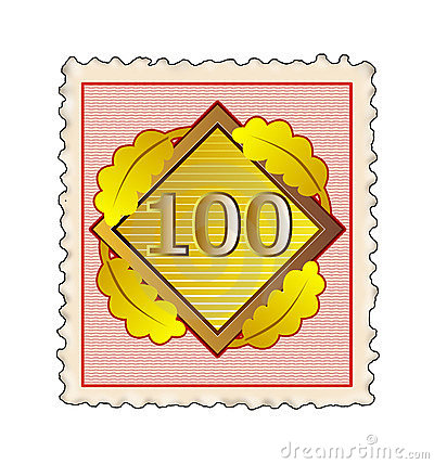 Number 100 stamp red