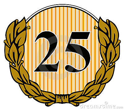 Number 25 with laurel leave