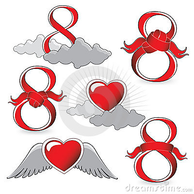 Number 8 and heart icons