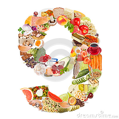 Number 9 made of food