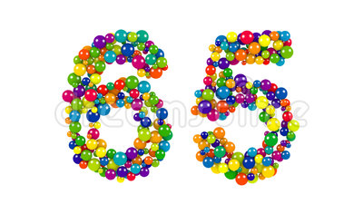 Number 65 as colorful balls over white. Colorful balls in red, blue, yellow, orange and green forming the number 65 over white background royalty free illustration